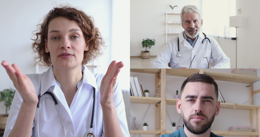 Young female doctor training medical workers group, teaching medic team in virtual conference web camera collage chat application screen view. Telemedicine remote training webinar, elearning concept.