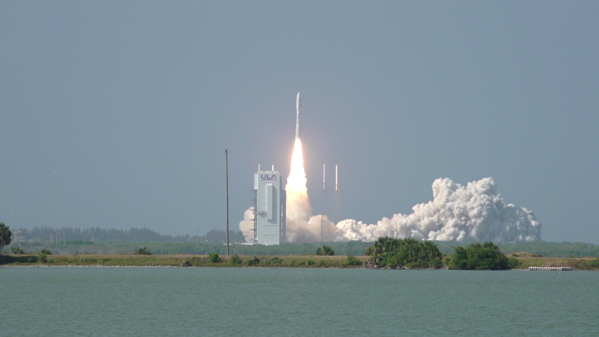 CAPE CANAVERAL, FL March 2020 - Atlas V Rocket lifts off from launch pad 41 at Kennedy Space Center to deliver a U.S. Air Force communications satellite to orbit in space. Includes audio.