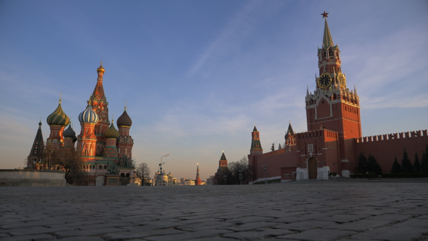 Moscow/Russia-04.09.2020:Quarantine due to coronavirus covid-19. Red Square. Spasskaya Tower and St. Basil's Cathedral.Nobody is in the square. Most people are at home on self-isolation Royalty-Free Stock Footage #1050607477
