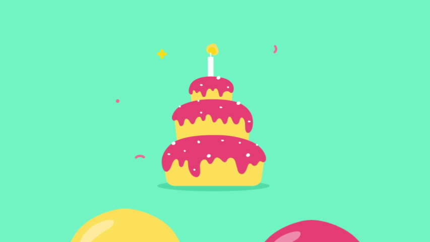Happy Birthday Background. Animated happy birthday candle cake. Balloons take off.