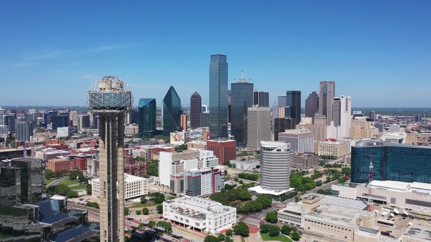 Dallas, Texas / USA - April 8 2020: 4K Drone Aerial Skyline of downtown Dallas with Reunion Tower