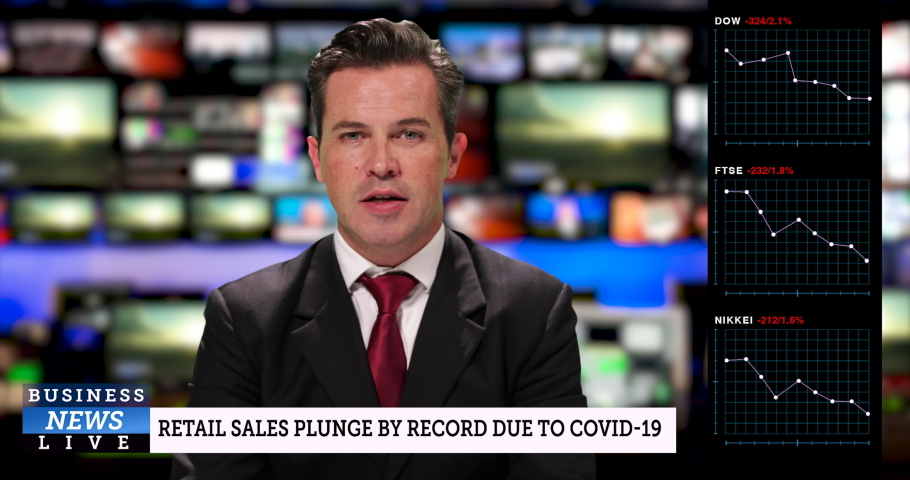 MS male television anchor at news desk presenting business news during the great lockdown economic crisis   Shutterstock HD Video #1050647836