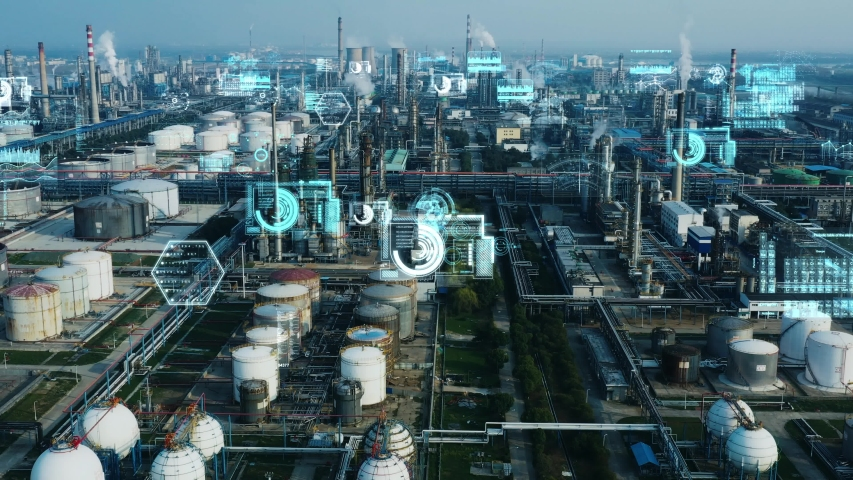 Modern plant and communication network concept. IoT (Internet of Things). INDUSTRY 4.0 Royalty-Free Stock Footage #1050660586