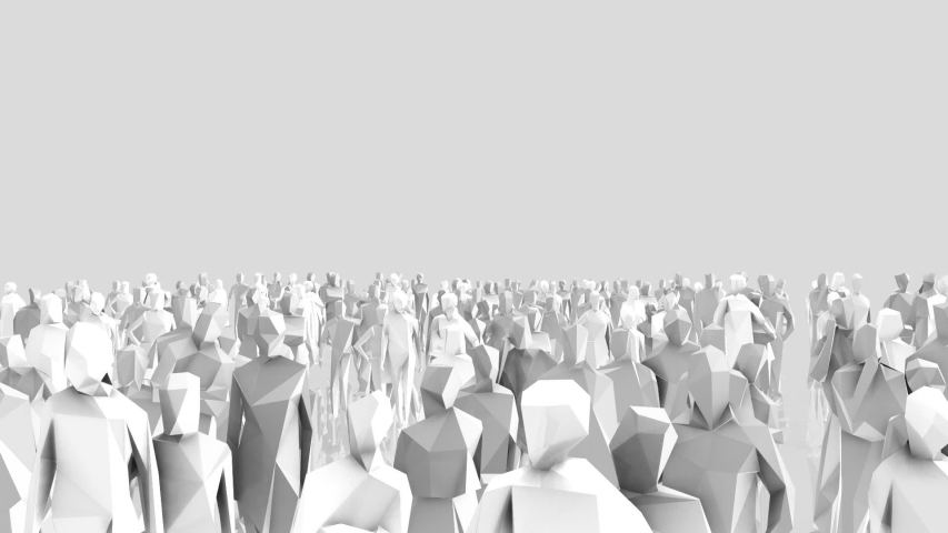 Low poly style crowd with different angels and colors | Shutterstock HD Video #1050698419