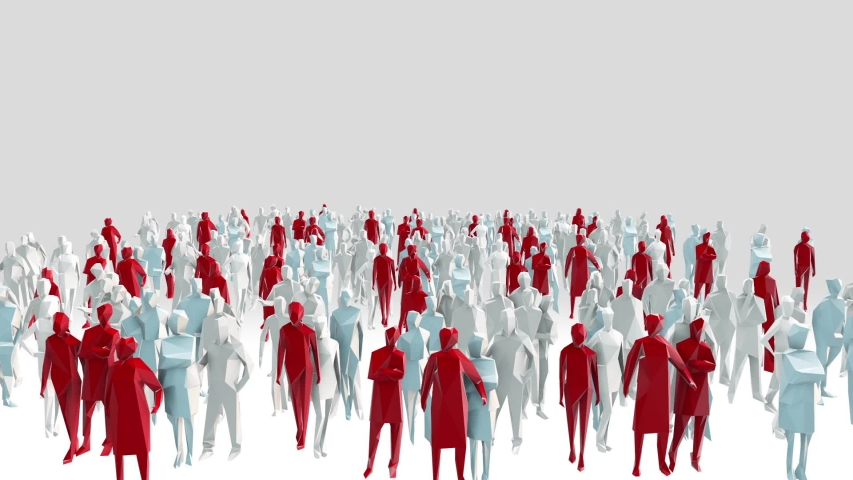 Low poly style crowd with different angels and colors | Shutterstock HD Video #1050698422