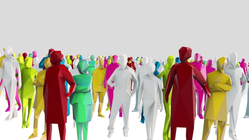 Low poly style crowd with different angels and colors | Shutterstock HD Video #1050698425