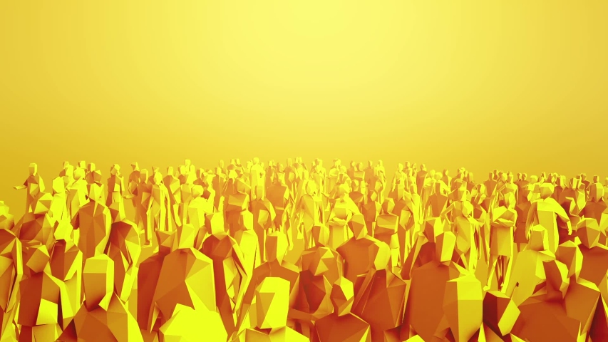 Low poly style crowd with different angels and colors | Shutterstock HD Video #1050698428