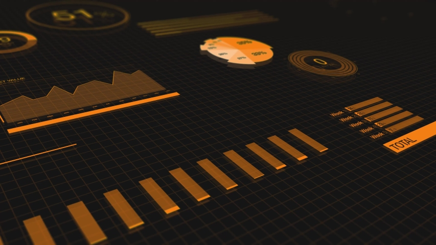 Futuristic UI orange on black. Great for sci-fi science-fiction on-screens User Interface design. 4K 2D animation of graphs and charts. | Shutterstock HD Video #1050706111