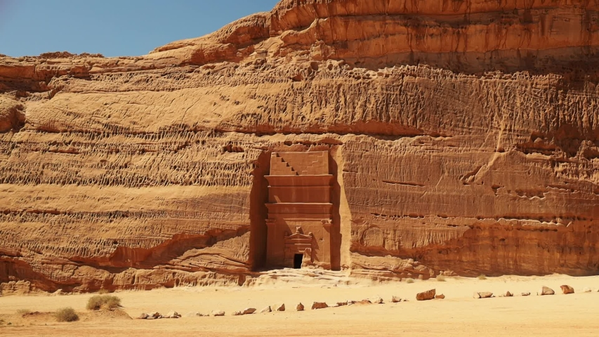 "Mada'in Saleh, also called Al-Ḥijr or ""Hegra"", is an archaeological site located in the Sector of Al-`Ula within Al Madinah Region in the Hejaz, Saudi Arabia. 02.02.2019"
