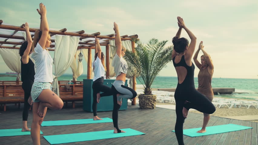 Group Of Women Practicing Yoga Videos De Stock 100 Libres De Droit 10507460 Shutterstock