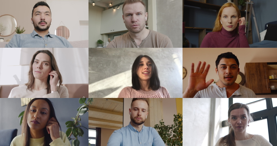Diverse group of colleagues working from home having a video conference call together. Nine people. Stay home, quarantine life, coronavirus COVID-19 pandemic Royalty-Free Stock Footage #1050747832