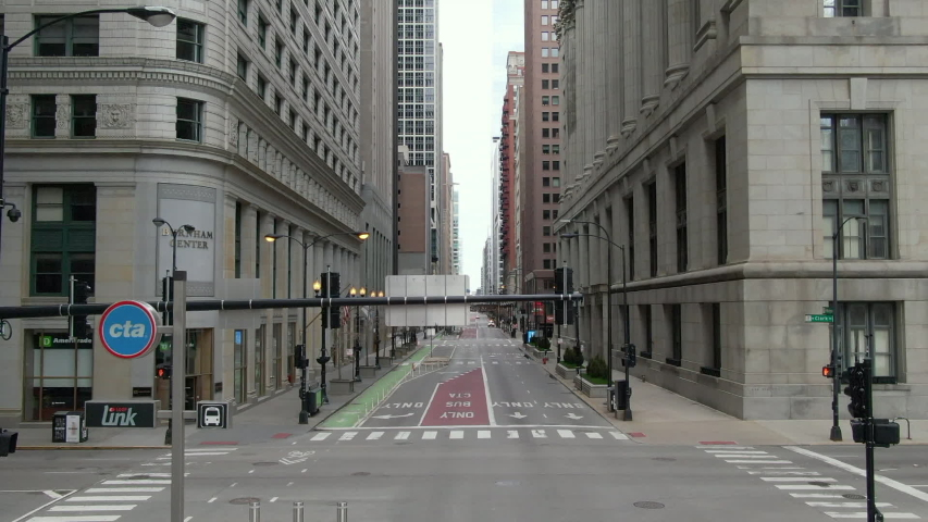 Chicago's Washington Blvd. among the empty streets during Stay at Home mandate/Pandemic 2020.