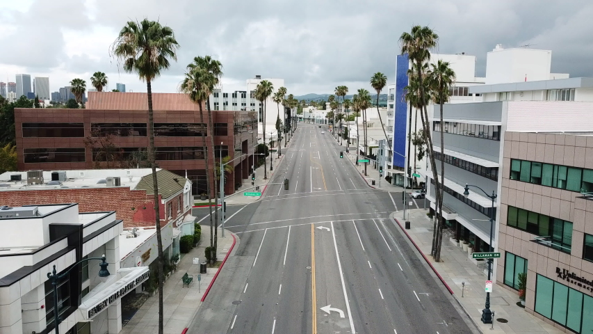 Los Angeles during the quarantine in April due the Covid-19 in 4k - the city was pollution free and no traffic. Mid City Area | Shutterstock HD Video #1050764665