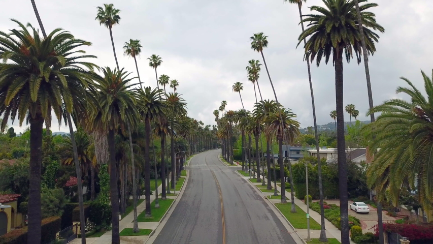 Los Angeles during the quarantine in April due the Covid-19 in 4k - the city was pollution free and no traffic. Beverly Hills area. | Shutterstock HD Video #1050764686