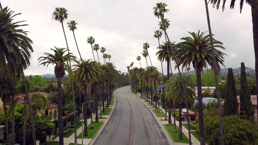 Los Angeles during the quarantine in April due the Covid-19 in 4k - the city was pollution free and no traffic. Beverly Hills area. | Shutterstock HD Video #1050764689