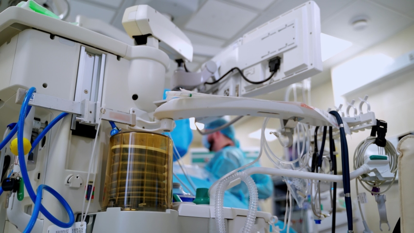 Mechanism of artificial lung ventilation in motion. Medical ventilator. Intensive care unit with Pneumonia diagnosing. Royalty-Free Stock Footage #1050779554