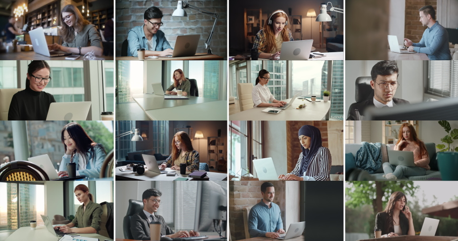 Collage of diverse people using laptops. Successful business people working on computers. Young students finishing their projects for online education - diversity, communication concept 4k footage | Shutterstock HD Video #1050791527