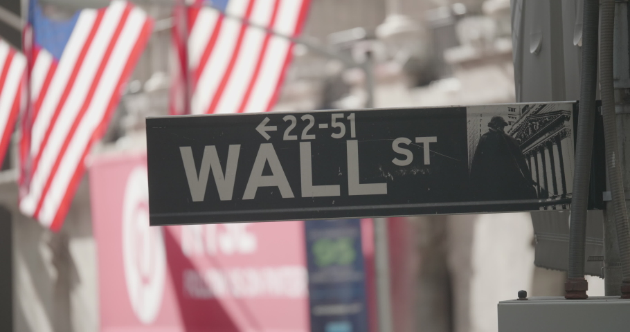 Emblematic Wall Street sign with American flags in Fina