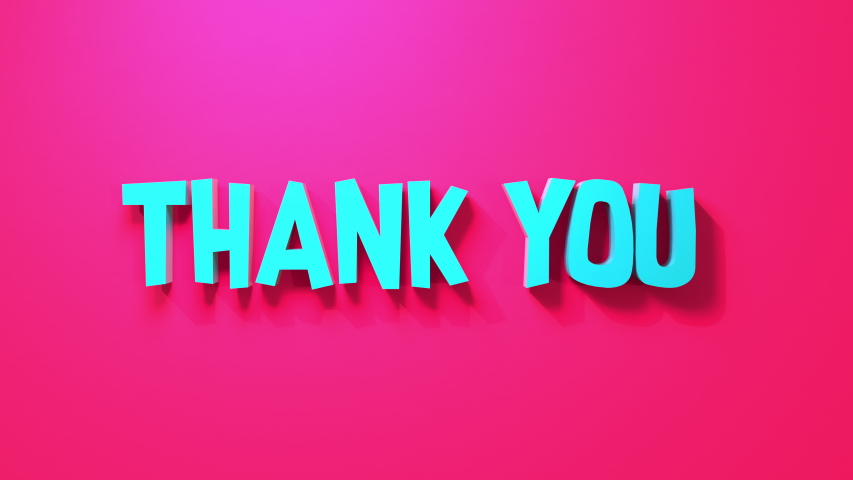 Thank You 3D render typography text on bold colored background. Great way to say thanks to healthcare and essential workers.  | Shutterstock HD Video #1050812398