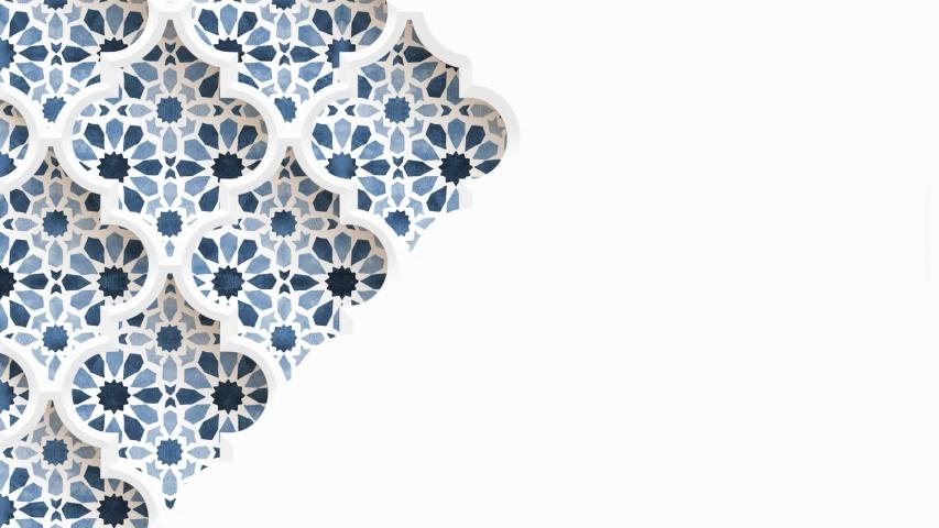 Moving traditional arabic pattern with ornamental geometric stars, arabesque through white decorative mosque window. White background. Ramadan, Eid ul Adha graphic animation, loopable Islamic design.