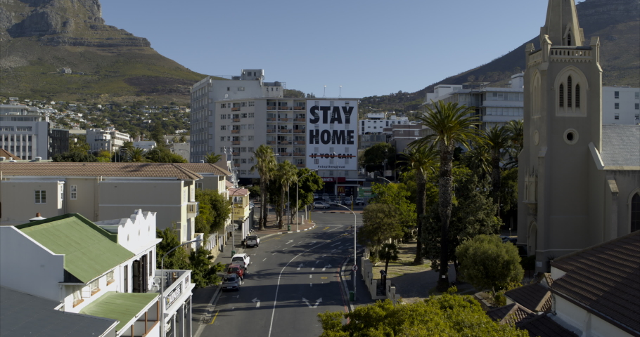 Covid-19 Lockdown Empty Street Aerial in Cape Town South Africa