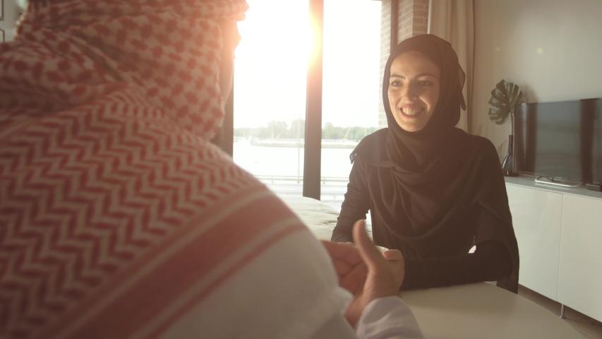 muslim arab family drinking tea Royalty-Free Stock Footage #1050833854