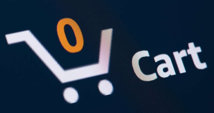 Animation of shopping cart icon with counter added online commodity on shopping web page. | Shutterstock HD Video #1050881032