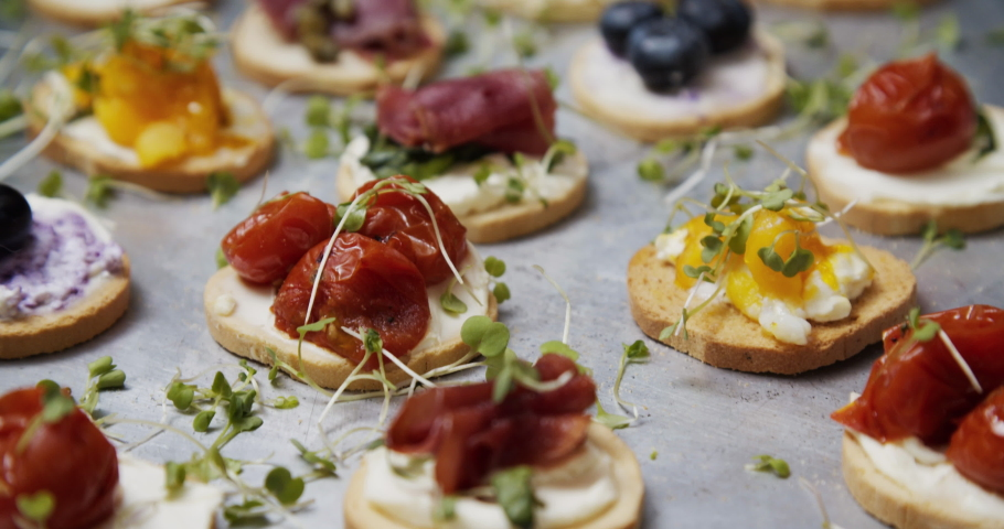 tray with variety of Canapes: traditional snacks or appetizers for parties, events, and cocktails, served before the main meal at formal receptions. With bread as base and different toppings on top. Royalty-Free Stock Footage #1050896935