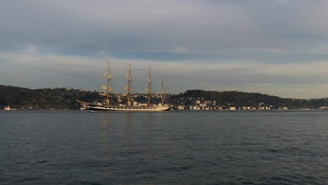 Istanbul / Turkey - April 19 2020:The sailing training ship named 'Kruzenshtern' with the flag of Russia, 114 meters long and 14 meters wide, completed in Germany in 1926, passed through the Bosphorus