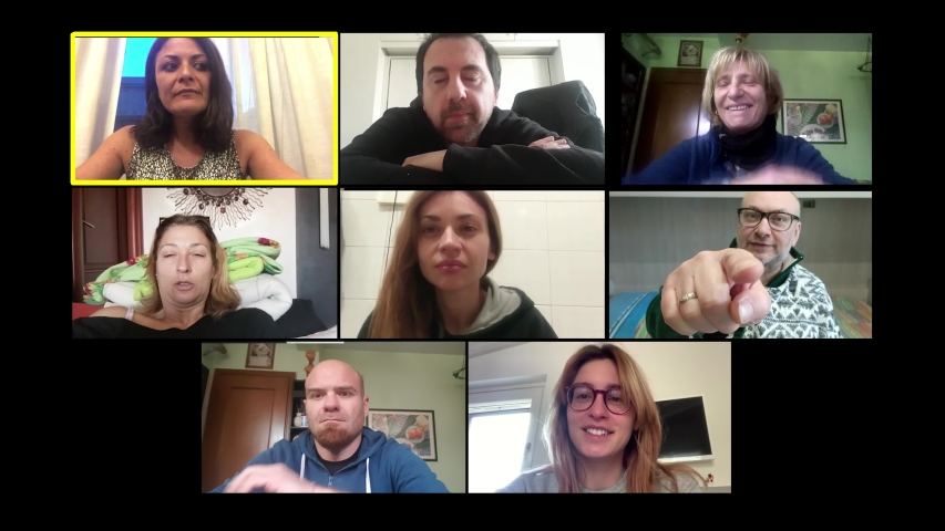 Chatting by zoom. A group of friends talk about how boring it is to stay home Royalty-Free Stock Footage #1050937489