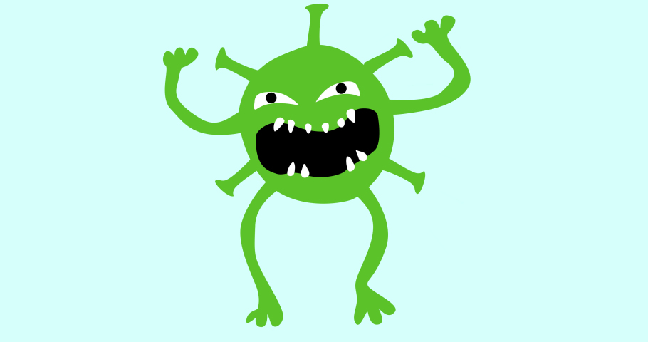 2D animation of the evil coronavirus with alpha channel. Cartoon character is jumping and waving. Toothy green monster in an irritated fit. Stock video with a growling microbe.