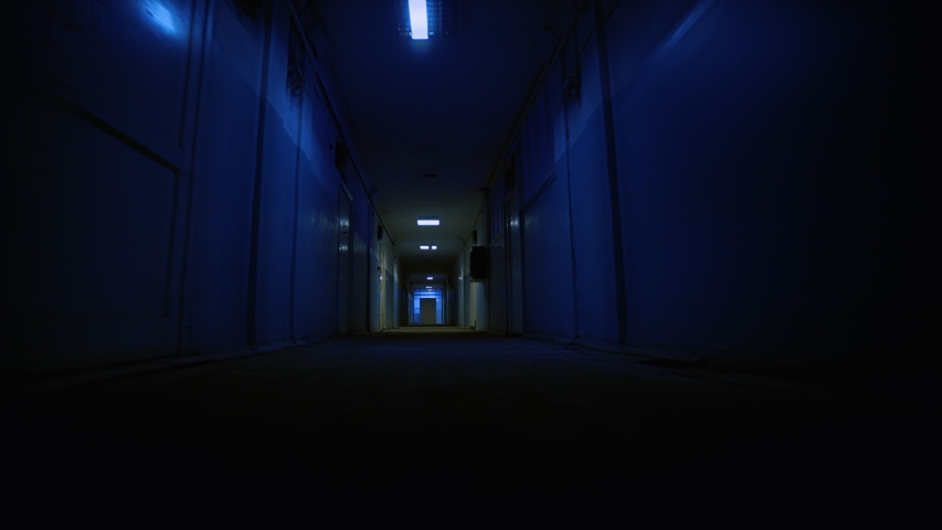 Hospital or Laboratory Corridor Point of View of Walking Down Ominous Scary Corridor Horror Thriller Scene