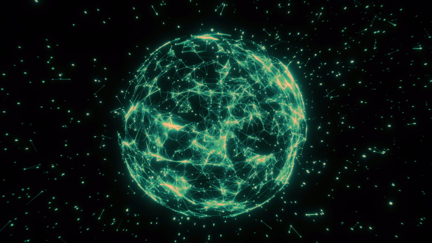 Sphere, globe and space in the form of a plexus. Abstract geometric background with moving lines, dots and triangles. Plexus, triangular, cobweb    Shutterstock HD Video #1051007905