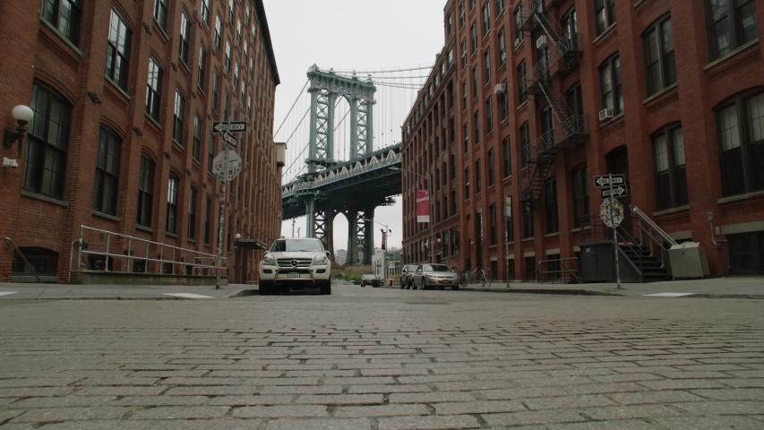 New York, New York / USA - April 2020: View of the Brooklyn Bridge from DUMBO during the Coronavirus Lockdown