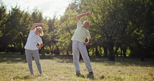 Active elderly couple exercising outdoors in a park or garden ding arm stretches in a health and fitness during retirement concept