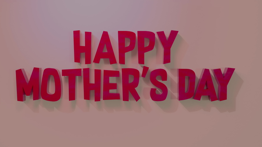 Happy Mother's Day 3D render text animation. Cute cartoon in 4K | Shutterstock HD Video #1051073713