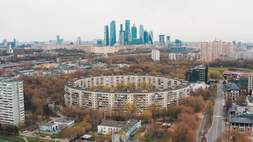 Aerial: Moscow landscape with empty streets during quarantine, ring building of Soviet times | Shutterstock HD Video #1051079485