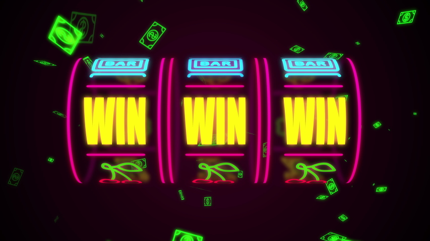 Neon casino slot machine spinning, money flying after win combination
