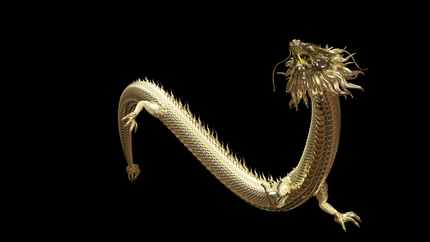 3D animation Gold Chinese dragon move pass camera with 3d rendering animation include alpha path.