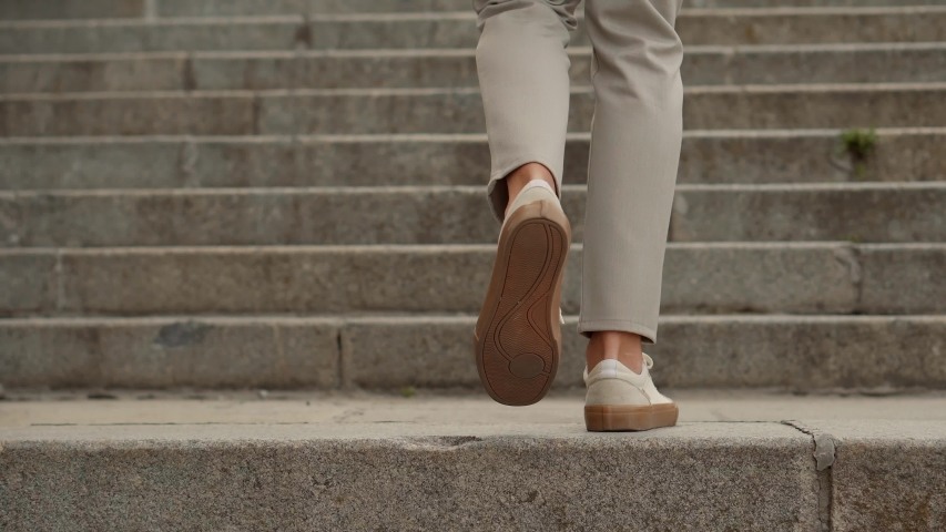 Stylish Businessman Legs Leisure Walking Up On Stairs On Vacation Holiday In Summer Day.Man Feet Wearing Pants And Shoes Walking Up Stair.Stylish Businessman Resting Walks Up On Steps On City Street. Royalty-Free Stock Footage #1051118314
