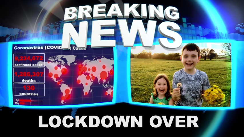Breaking News Intro Bulletin COVID19 LOCKDOWN OVER - Recovery - Happy - Crisis Over concept. Royalty-Free Stock Footage #1051127638