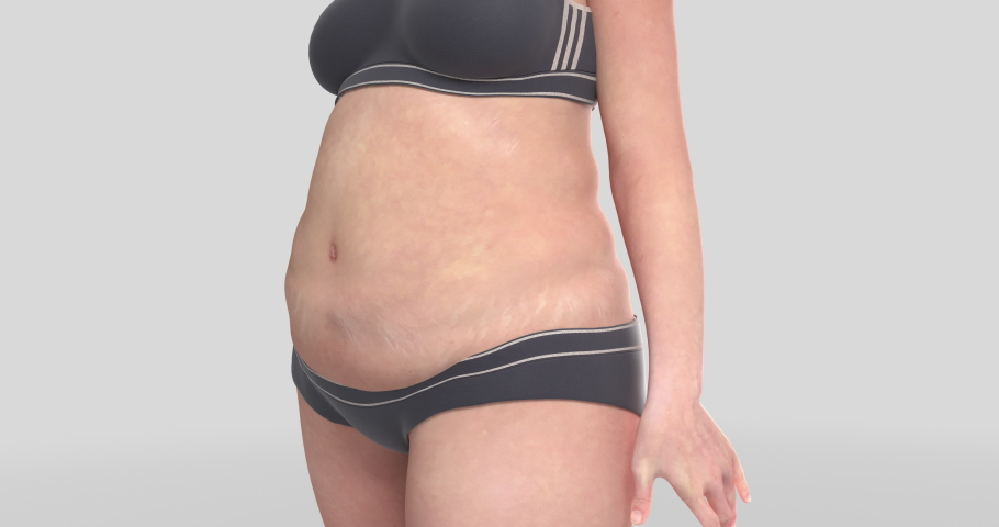 woman morphing from fat to lean