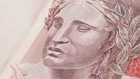 Brazilian currency. Brazil BRL bank notes. 10, 20, 50, 100 Reais. Money from Brazil, Brazilian real bank notes.