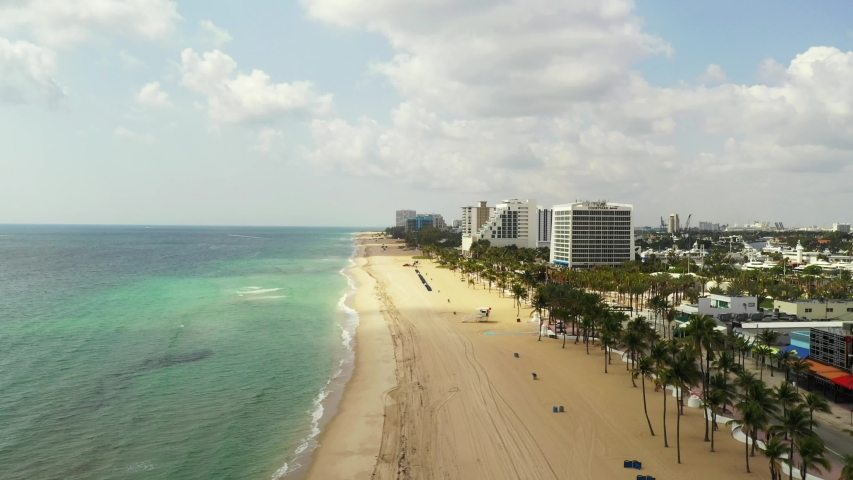 FORT LAUDERDALE, FL, USA - APRIL 20, 2020: 2020 scene Fort Lauderdale Beach FL   Shutterstock HD Video #1051145401