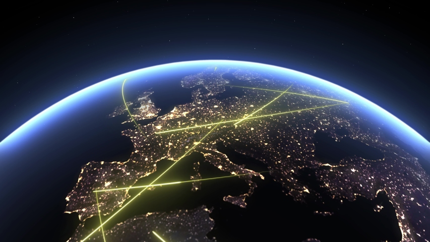 European continent. Planet Earth, 3d terrestrial globe 4k. Animated fast lines moving in Europe, symbol of data transfer and digital connection.