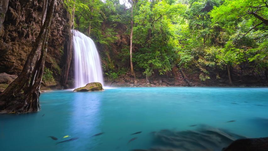 4K.Time lapse Erawan cascade waterfall. Kanchanaburi National Park, Thailand