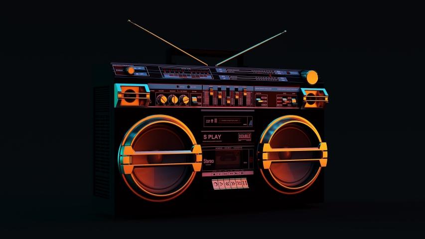 Boombox Moody 80s Lighting 360 Turnaround 3d animation 3d illustration 3d render | Shutterstock HD Video #1051185910