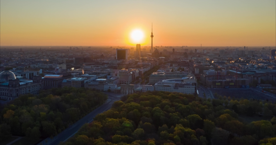 Aerial view of the Brandenburg Gate - monument in Berlin,Germany, Europe.   With skyline in the background. 4K Timelapse.