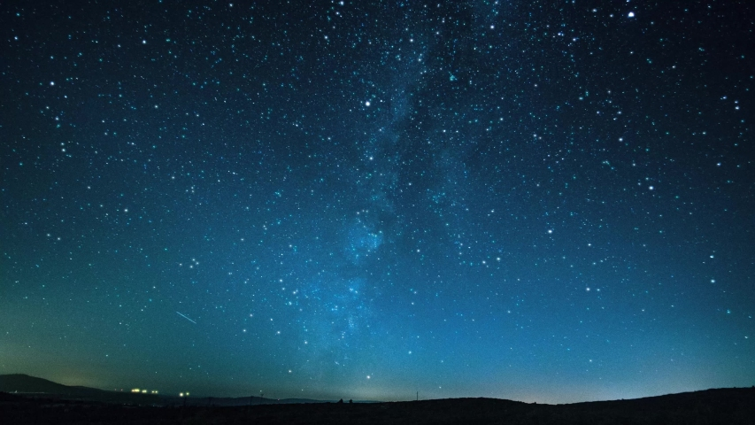 Night sky milky way galaxy. this is animated. The universe's shiny sky stars looing at outer space stars sparkle at evening, View of cosmic space blue sky shine sparkle starfield stars. Royalty-Free Stock Footage #1051191784