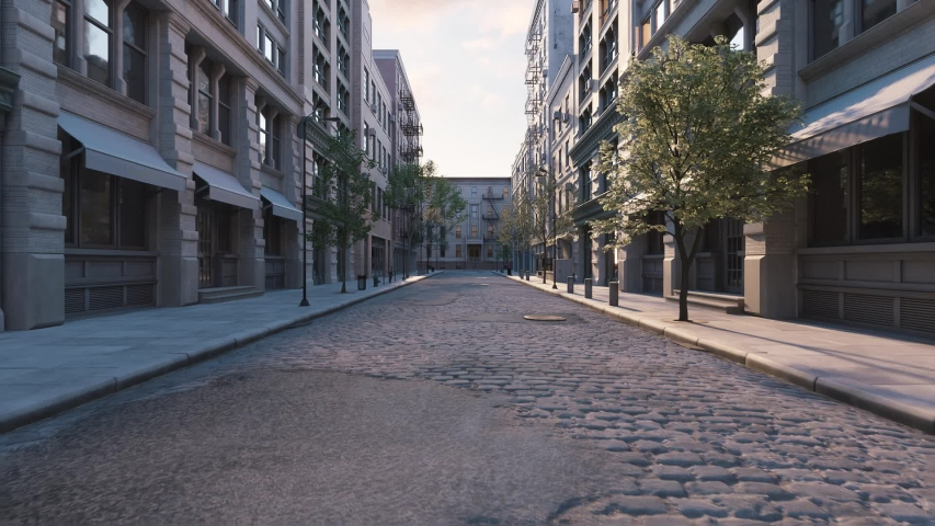 Empty european city. Empty city streets during a pandemic. Realistic 3d visualization